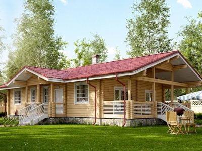 одноэтажные дома из бруса